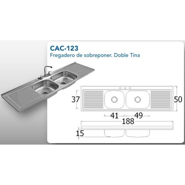 Tarja doble ebtecnica cac 123 df - Dimensiones fregadero ...